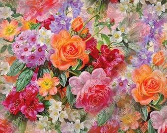 Floral Collage Sheet Digital Paper - Digital Scrapbooking - DIY Proyects - INSTANT DOWNLOAD - 300dpi - 17802