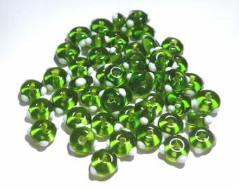 GREEN WHITE - Handmade Glass Lampwork Beads - Emerald Green with White Dots  - BULK Set of 50