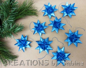 Blue Stars, Hanging Ornaments German Ribbon Star Ornaments Blue Set of 8 Party Decor Froebel Moravian Origami Stars blue READY TO SHIP (24)