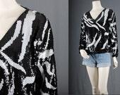 Sequin Top Blouse pullover black white graphic zebra disco bohemian size M medium