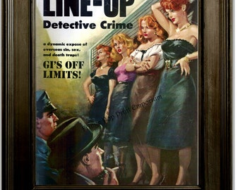 Detective Magazine Art Print 8 x 10 - 1950's Femme Fatale - Pulp art - Crime Line Up Pin Up Girl - Pinup True Crime