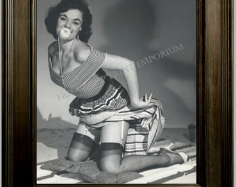 Gil Elvgren Pin Up Girl Art Print 8 x 10 - Painting Reference Photo - Pinup on Blanket - Ball in Mouth