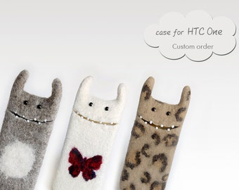 Case for HTC One / m7 / m8, custom orders , felted case, eco friendly, wool Monster cases, Unique gifts idea