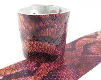 "Patent Snake Purple Leather Cuff Bracelet 2"" Wide, #57-85251643"