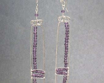 Hammered rectangle drop earring amethyst Bohemian 104