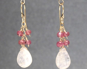 Moonstone and ruby earring Victorian 74