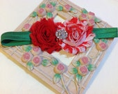 Christmas Headband, Red and White Shabby Chic Flowers on an Green Headband with Rhinestone/Pearl Embellishment, Infant to Adult