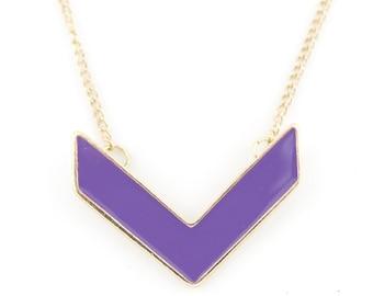Simple Beautiful Gold-tone Purple Arrow Statement Necklace,C5