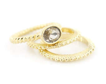 Simple Bright Gold-tone Faceted White Stone Triple Rings,Size selectable,C4