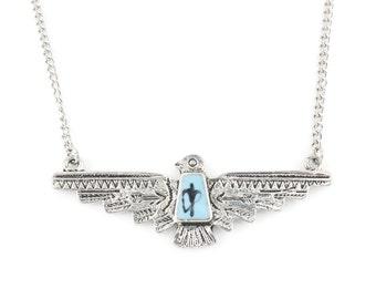 Cute Silver Tone Blue Enamel Eagle Hawk Pendant Necklace,R1