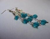 ON SALE NOW!  Blue Glass Dangle Earrings