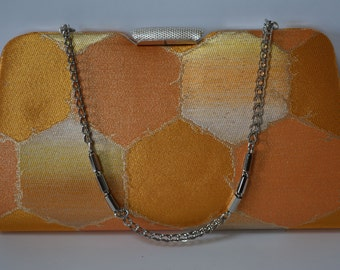 Bridal purse, metallic orange brocade handbag or clutch purse, 1970s vintage Japanese