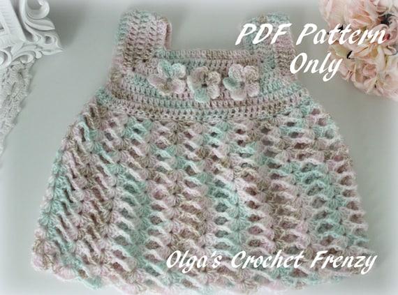 Crochet Baby Dress Size 0-3 Months Easy Level PDF Pattern