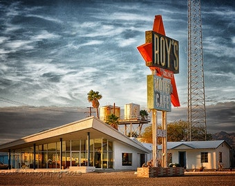 Route 66 Photography | Travel Print | Mid Century Modern Art | Roy's Retro Motel | Mojave Desert | Large Wall Art | Man Cave Decor | 16x24