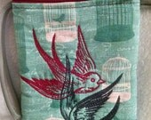 Embroidered Shadowy Birds Wristlet