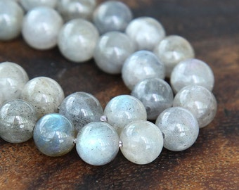 Labradorite Beads, 10mm Smooth Round - 15 inch strand - eGR-LB001-10