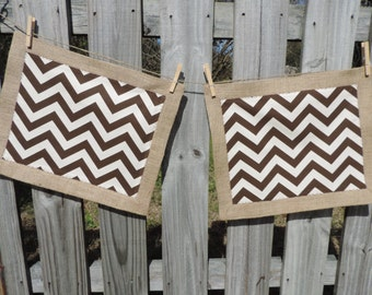 Brown Chevron and Burlap Placemats- Set of 2