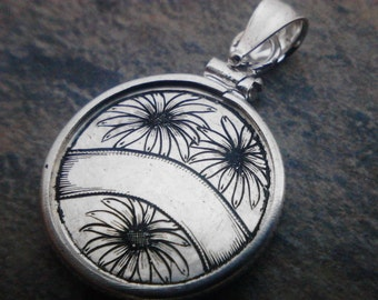 Black Eyed Susans Coin Engraving Newly Hand Engraved Silver Love Token on Dime Sized Coin