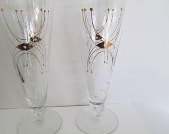 beer glasses vintage mid century modern bar ware retro bar glasses mid century pilsner gold glasses  vintage bar ware
