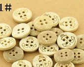 10 pcs 0.47 inch White Anchor Flower 4 Hole Manual Natural Coconut Shell Buttons for Kids Shirts