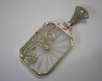 Vintage 14 kt White Gold Filigree Camphor Glass Diamond Pendant