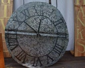 Rustic Tin Clock with Traditional Roman Numerals 22in clock face