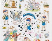 Korean Scrapbook Gold Foil Transparent Stickers - Pinocchio (STNO05024)