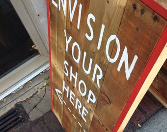 Sidewalk Sign reclaimed wood A-frame design like a sandwich board