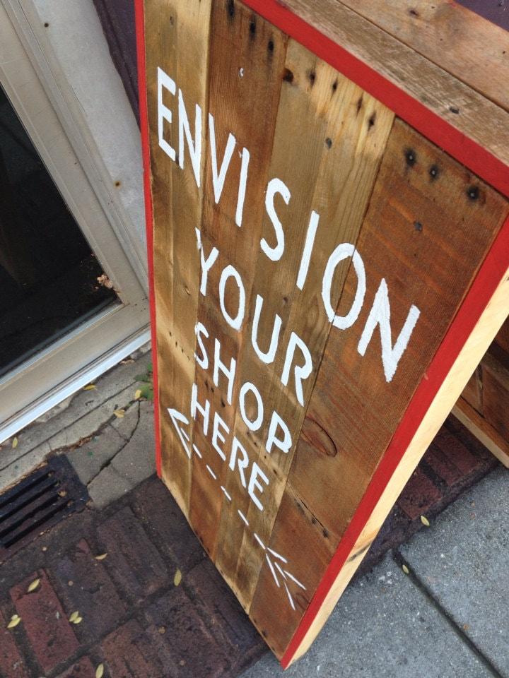 Sidewalk sign reclaimed wood a frame design like sandwich