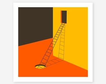 Modern, Minimal Wall Art for the Home Decor, Giclee Fine Art Print, 'EXPLORE'