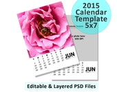 2015 Calendar Template, Digital Download, 5x7 Custom 12 month Calendar, PSD Photoshop and Elements Layered, Editable