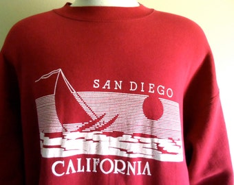 vintage 80's San Diego California maroon fleece yacht ocean white puffy print travel tourist souvenir graphic sweatshirt crew neck pullover