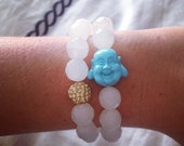 Clear White Stackable Beaded Buddha Bracelet