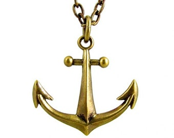 Anchor Pendant - brass