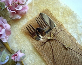 100 Eco friendly  Burlap Flatware Holders , Wedding Table Setting,Rustic Flatware Pockets