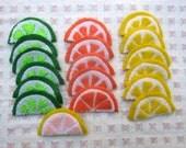 Felt Fruit Slice Hair Clippies,Oranges,Limes,Lemons,Pink Grapefuit Hair Clips