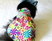 Pet Clothes Custom Small Dog Dress, Neck Velcro Oprtional - Forest Green, Crimson Red & Cream Bodice and Multi Floral Skirt