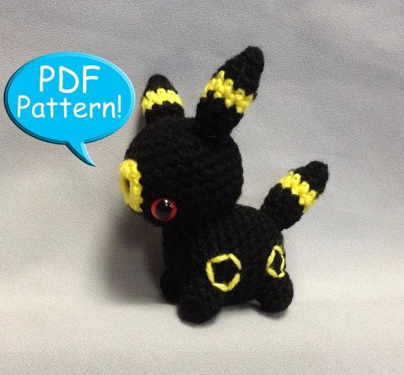 PDF PATTERN for Crochet Umbreon Amigurumi doll toy plushie