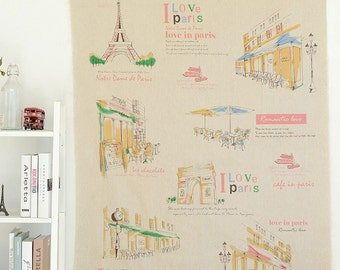 """Beige Linen Cotton Fabric, I Love Paris Cafe In Pairs, Bag Curtain Cushion Fabric - One Panel 41""""X55"""""""