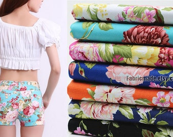 Items Similar To Floral Printed Stretch Denim Fabric By