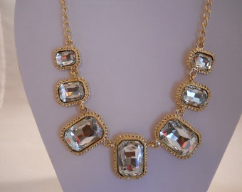 Gold Tone Chain with Clear Crystal Pendants Bib Necklace