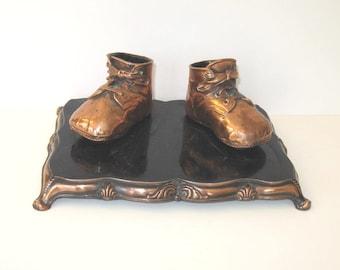 SALE, Vintage Bronzed Baby Shoes, Home Decor, Nursery Decor, Circa 1950