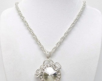 Large Rhinestone Drop on Silver Pendant Necklace