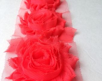Salmon Chiffon flower shabby frayed rosette