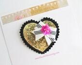 "Girls/Baby Valentine's Day Hair Clip-Black and Gold Glitter Heart Hair Clip, Felt Bow, Gold Glitter Heart Hair Clip ""Limited Edition"" Heart"