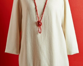 "Dress ""Winter Heart"", hand-embroidered, wool cashmere mix"