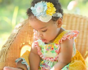Yellow, Light Blue Headband, Hair Accessory, White Fabric Flower Hair Piece, Sky Blue, Baby Hairbow, Infant Headband, Photo Prop, Hair Clip