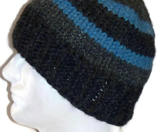 Beanie Hat, Warm Winter Hat, Mens, Charcoal, Granite, Blue