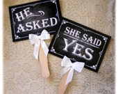 He asked, She said yes Engagement Paddles - chalkboard style - great engagement or save the date photo props - Rustic Rose Design