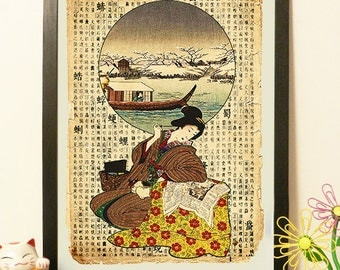 Japanese Geisha with cat and boat - Vintage Japan paper Dictionary Print